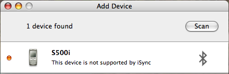 This device is not supported by iSync